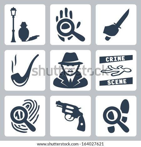 Vector detective icons set: man under street lamp, magnifier and handprint, knife in hand, smoking pipe, detective, crime scene, magnifier and fingerprint, revolver, magnifier and footprints - stock vector