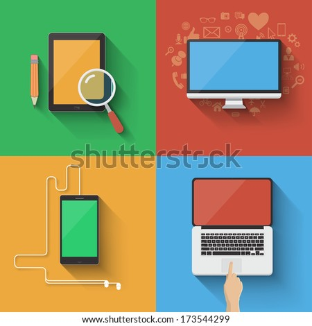Vector device icon set. Choose your favorite device - stock vector