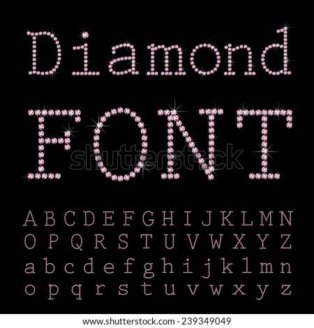 Vector diamond font. - stock vector