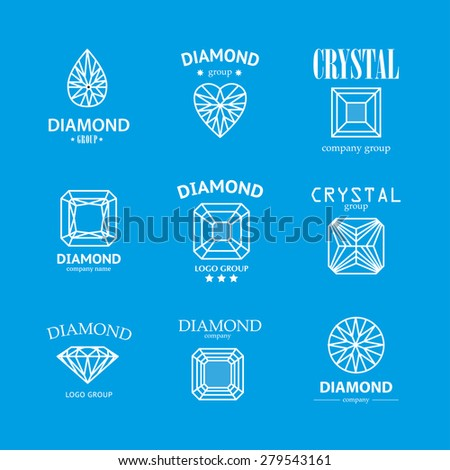 Vector diamond logo set. Jewellery logo collection. Rhinestone company. - stock vector