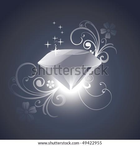 vector diamond with florals around it - stock vector