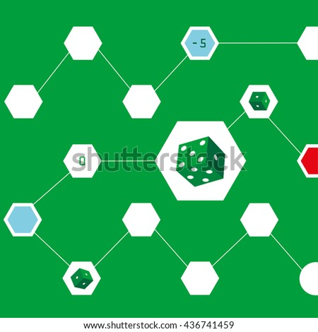 Vector dice. Game of dice. Background green color - stock vector