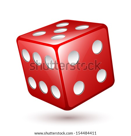 Vector dice icon - stock vector