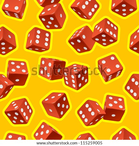 Vector dice seamless background. Red on yellow - stock vector