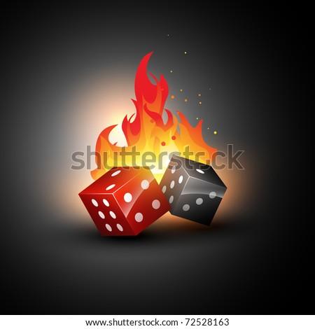 vector dices burning design illustration - stock vector