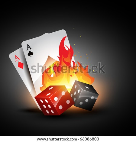 vector dices burning design with playing card illustration - stock vector