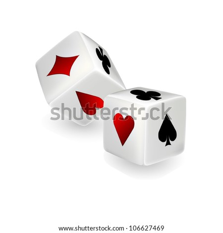 Vector dices with clubs, diamonds, hearts and spades - stock vector
