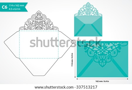 Vetor stock de vector die cut envelope template c 6 livre de vector die cut envelope template c6 size may be user for laser cutting stopboris Choice Image