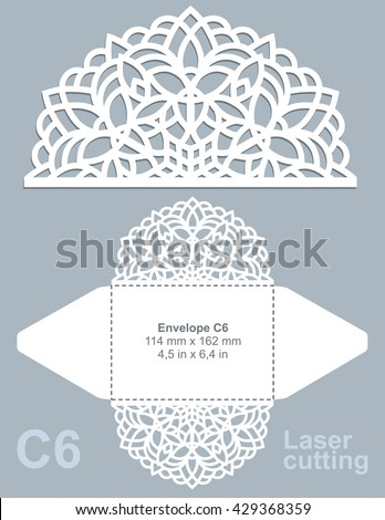 Vector die cut envelope template for laser cutting. Invitation envelope C6.