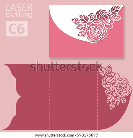 Vector Die Laser Cut Envelope Template Stock Vector 598175897