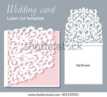 Vector Die Laser Cut Wedding Card Stock Vector