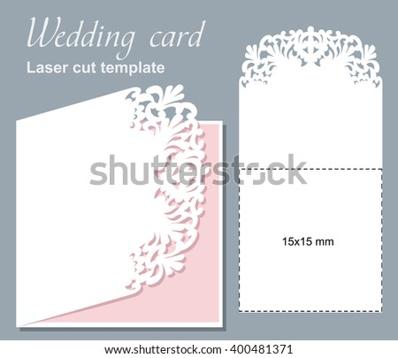 Vector die laser cut wedding card template. Wedding invitation card mockup.15x15 cm