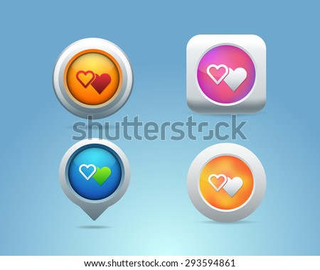 Vector Different Frames Hearts and Love Icons, Buttons Template - stock vector