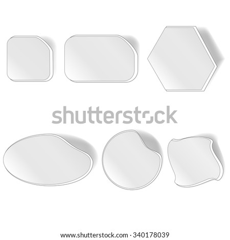Vector Different Grey Stickers Set Isolated on White Background - stock vector