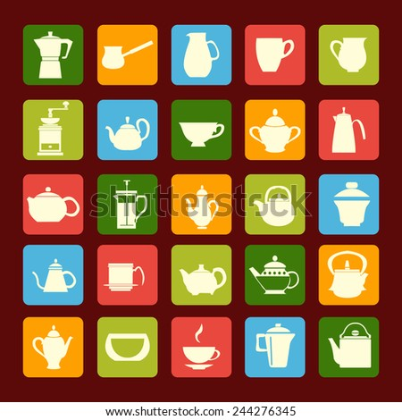 Vector different icons of Tea sets  Silhouettes Coffee and Tea Pots with Cups. Coffee and tea time - stock vector