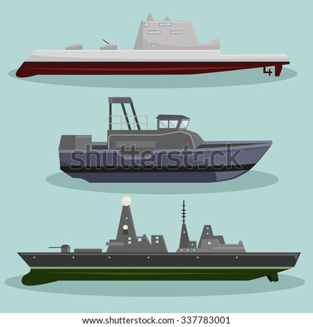 Vector different types of Military Ships image design set for your illustration, postcards, posters, sticker, label and other design need.  - stock vector