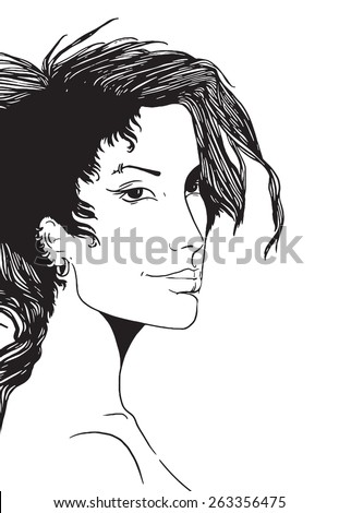 vector digital artwork - subculture - girl punk - portrait of young girl with Iroquois