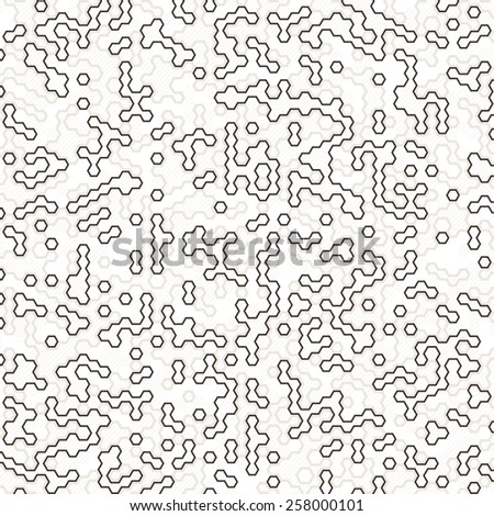 Vector digital background of multicolored contour and color filled hexagons - stock vector