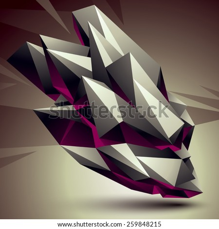 Vector digital 3d abstraction, geometric polygonal element. Spatial technological contrast shape perspective object. - stock vector