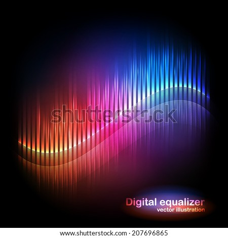 Vector digital equalizer with colored lights and reflections on a black background. Vector illustration can be used for interfaces in web design, Wallpapers, postcards and musical banners.