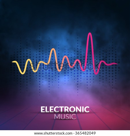 Vector digital equalizer with colored lights and smoky background. Vector illustration can be used for interfaces in web design, Wallpapers, postcards and musical banners. - stock vector