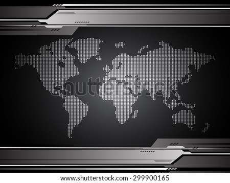 vector digital global technology concept, abstract background.  Technology background for computer graphic website internet digital. World map - stock vector