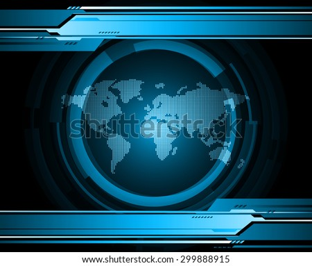 vector digital global technology concept, blue abstract background.  Technology background for computer graphic website internet digital. World map - stock vector
