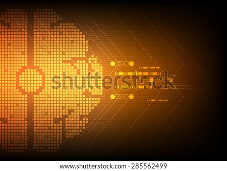 vector digital pixel brain, abstract technology background  - stock vector