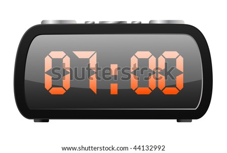 vector digital radio clock - stock vector