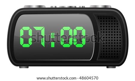 vector digital radio-clock - stock vector