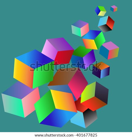 Vector digital rgb colors service logo. Web colors concept. Cubes arrow illustration.