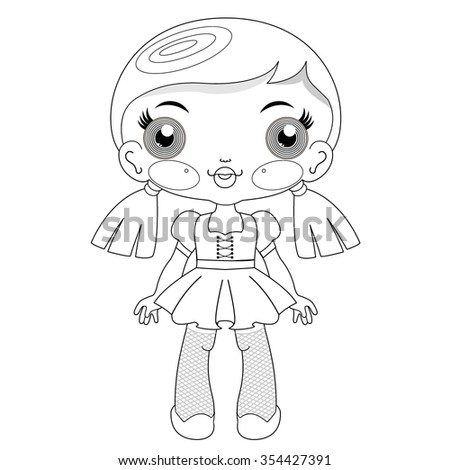Vector digital stamp of kawaii doll for coloring books - stock vector