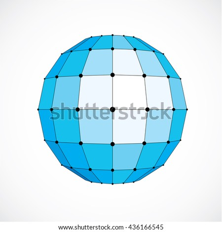 Vector dimensional wireframe low poly object, spherical blue facet shape with black grid. Technology 3d mesh element made using squares for use as design form in engineering.