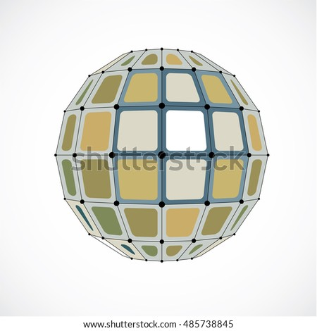 Vector dimensional wireframe low poly object, spherical yellow facet shape with black grid. Technology 3d mesh element made using squares for use as design form in engineering.