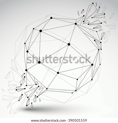 Vector dimensional wireframe object, transparent spherical demolished shape with refractions and wreckage. 3d mesh technology element broken into pieces. - stock vector