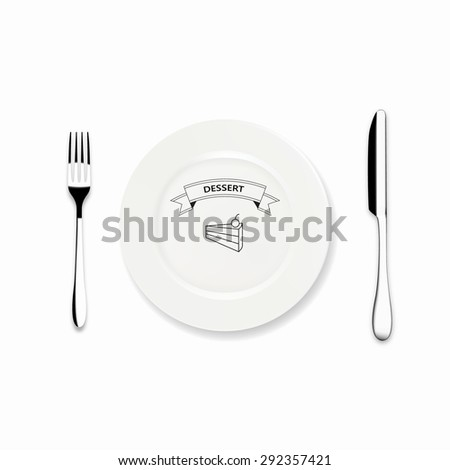 Vector Dinner plate design with Icon knife and fork, Can be use Restaurant menu design - stock vector