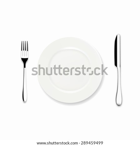 Vector Dinner plate with knife and fork, isolated on white