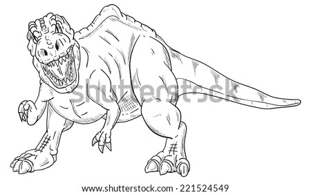 vector - dinosaur attacking , isolated on background - stock vector