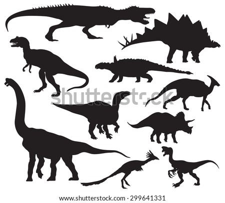 Vector dinosaur silhouettes - stock vector