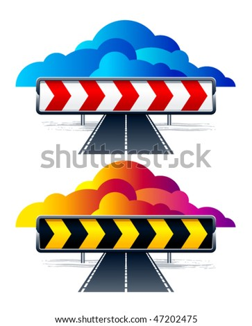Vector direction arrow signs on white background