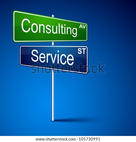Vector direction road sign with consulting service words. - stock vector
