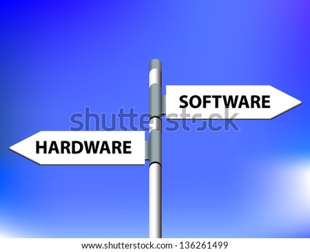 Vector direction road sign with hardware software words - stock vector
