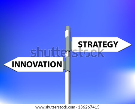 Vector direction road sign with innovation strategy words - stock vector