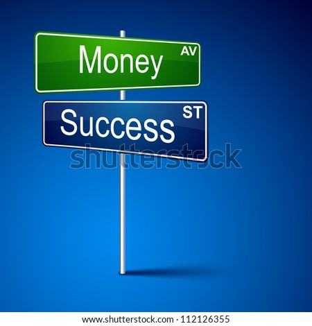 Vector direction road sign with money success words.