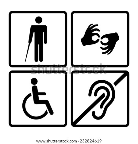 Vector disabled signs with deaf, dumb,mute, blind, wheelchair icons - stock vector