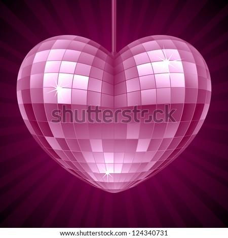 Vector Disco Heart. Purple mirror disco ball in the shape of heart - stock vector