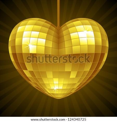 Vector Disco Heart. Yellow mirror disco ball in the shape of heart - stock vector