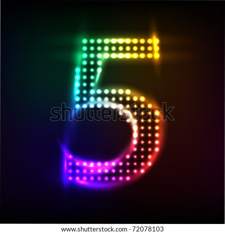 Vector - disco lights number  5 - stock vector