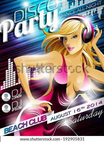 Vector Disco Party Flyer Design with sexy girl and headphone on shiny color background. Eps10 illustration. - stock vector