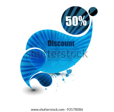 Vector discount banner, transparent shadow easy replace background. - stock vector